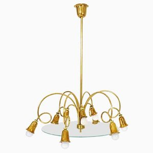 Italian Brass and Glass Chandelier, 1950s