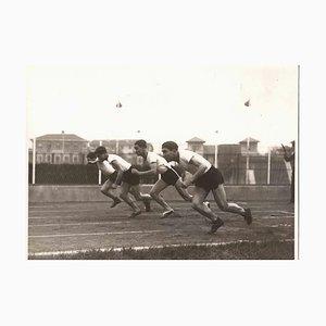 Desconocido, corredor en competición, fotografía vintage en blanco y negro, años 30