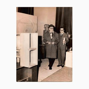 Unknown, Le Corbusier During an Exhibition at Palazzo Strozzi, Vintage B/W Photo, 1950s