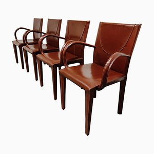 Red Leather Dining Chairs from Arper, Italy, 1980s, Set of 4