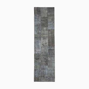Alfombra de pasillo gris de patchwork