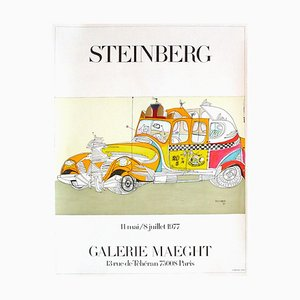 Expo 77 Galerie Maeght (Taxi) Poster by Saul Steinberg