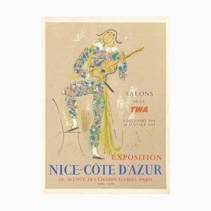Affiche Expo 54 Twa Nice Sales Côte Dazur (Luxe) par Jean Cocteau