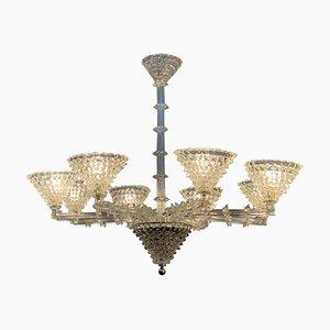 Lámpara de araña Barovier de cristal de Murano, años 50