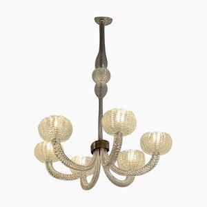 Lámpara de araña Barovier de cristal de Murano Art Déco con seis brazos, años 40