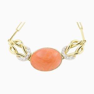 Korallenrote Cabochon Halskette mit 0,28 Karat Diamanten und 18 Karat Gelbgold