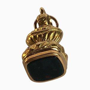 Unakite Juwel auf 18 Karat Gelbgold Siegel