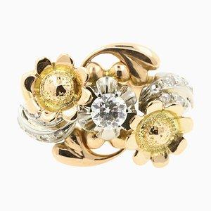 0,30 Karat Diamant auf 18 Karat Gelbgold, Rosa und Weißgold Ring