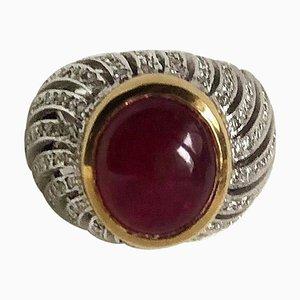 Cabochon Rubin und Diamanten Ring aus 18 Karat Gelb- und Weißgold