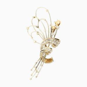 Broche de corona de oro blanco y amarillo de 18 quilates con diamantes
