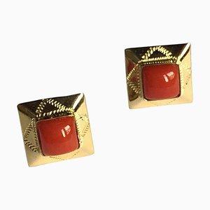 Ohrringe aus 18 Karat Gelbgold mit Roter Mediterraner Koralle, 2er Set