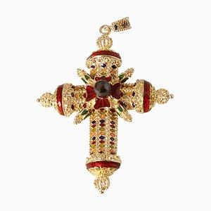 Cruz colgante de oro amarillo de 18 kt, perla de Tahití y esmaltes multicolores