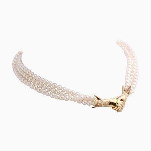 Gargantilla de perlas con cierre de diseño de oro de 18 kt con diamantes de 0.35 kt