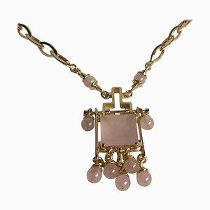 Collar de oro amarillo de 18 kt con cuarzo rosa
