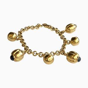 Cabochon Sapphires and 18 Karat Yellow Gold Fope Bracelet