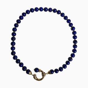Halskette aus 18 Karat Gelbgold und Sodalith mit Diamanten