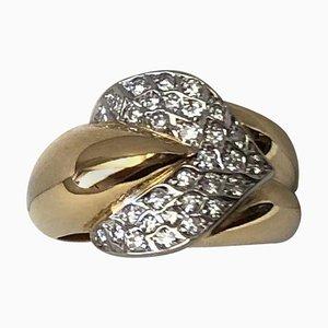 Anillo de oro amarillo y blanco de 18 quilates con diamantes de 0.46 quilates