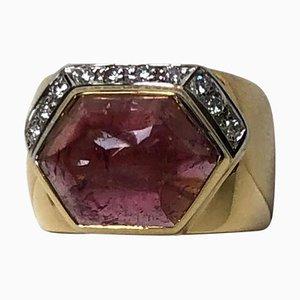 Ring aus 18 Karat Gelb- und Weißgold mit einem 5,00 ct Turmalin und Diamanten von Gio Caroli