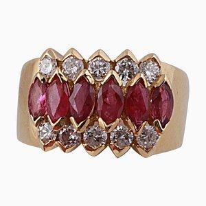 Anillo de oro amarillo de 18 kt y rubíes marquesa de 1,95 CTS y diamantes redondos
