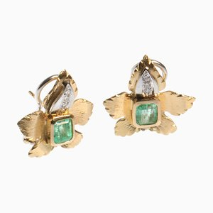 18k Yellow Gold Pierced Earrings and Adjustable Clip with Diamonds and Emeralds, Set of 2