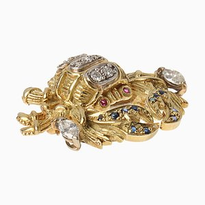 18 Karat Gelb-Weißgold Krabben Brosche Krebs Schild mit Diamanten, Rubinen und Saphiren