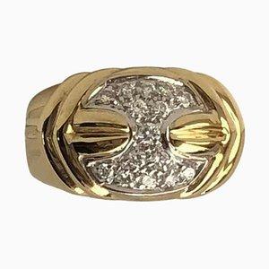 18 Karat Gelbgold Damiani Vintage Ring mit 0,35 Karat Diamanten