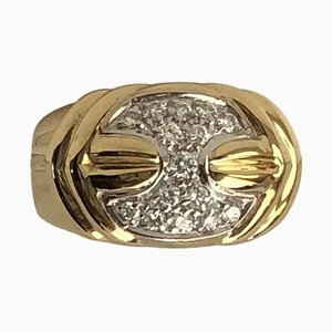 Anillo Damiani vintage de oro amarillo de 18 quilates con diamantes de 0.35 quilates