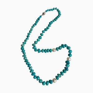 Türkise Nuggets Halskette mit Perlen und Schließe aus 18 Karat Weißgold