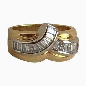 Anillo de oro amarillo y blanco de 18 quilates con diamantes de 0,99 quilates
