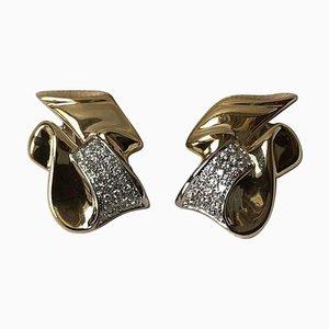 Aretes de clip de diamantes de 1.00 kt en oro amarillo y blanco de 18 kt, juego de 2