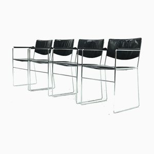Minimalist Leather and Chrome Dining Chairs, 1970s, Set of 4