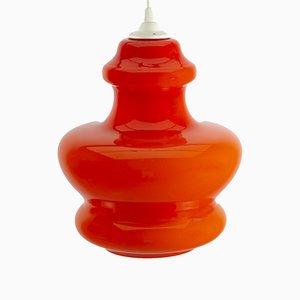 Orangefarbene Glas Hängelampe von Peil & Putzler