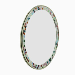 French Round Mirror with Mosaic Inlay, 1960s