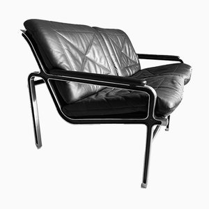 Mid-Century Aluminium and Black Leather Sofa by Andre Vanden Beuck