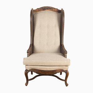 French Caned Wingback Armchair