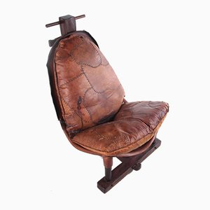 Brazilian Patched Leather Lounge Chair, 1960s