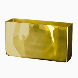 Rechteckige Wallet Vase aus Goldglas von Vgnewtrend