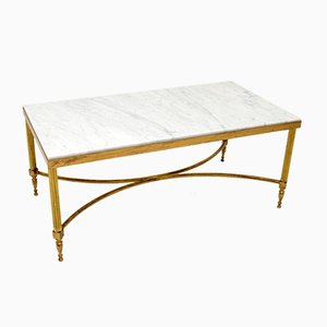 Vintage Italian Solid Brass & Marble Coffee Table