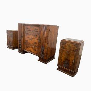 Art Deco Dresser & Bedside Tables Set, Set of 3