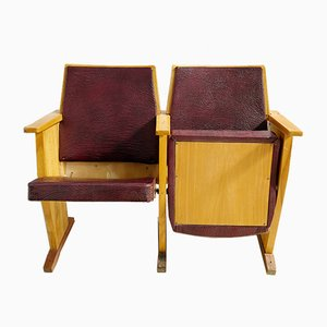 Vintage Wood & Maroon Faux Leather Cinema Bench, 1970s