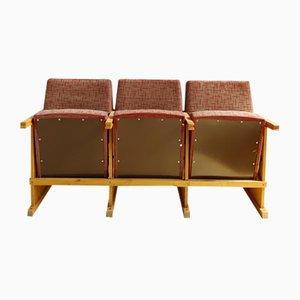 Mid-Century Wood & Leather Folding 3-Seater Cinema Bench, 1970s