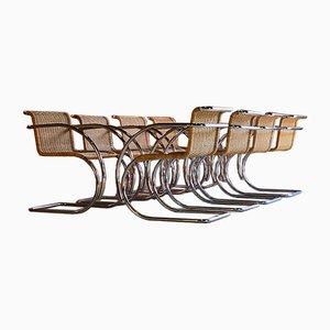 Sedie da pranzo MR20 in vimini di Ludwig Mies Van Der Rohe per Knoll Inc. / Knoll International, anni '60, set di 8