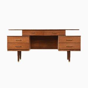 Nussholz Schreibtisch mit Schwebender Tischplatte von Austinsuite, 1950er