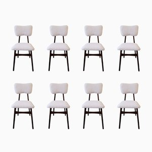 20th Century Cream Faux Fur Chairs, 1960s, Set of 8