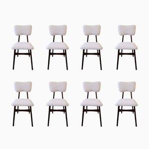 Cremefarbene Kunstfell Stühle, 20. Jh., 1960er, 8er Set