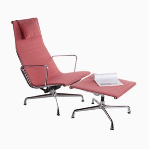 EA 124 Stuhl mit EA 125 Fußhocker von Charles & Ray Eames