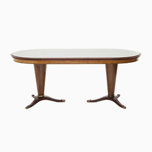 Table avec Plateau en Verre et Double Pied Central, 1950s