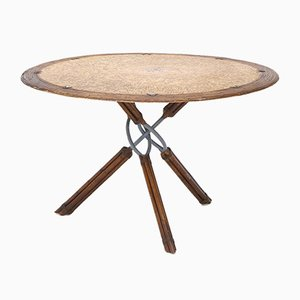 Round Rattan, Leather and Metal Table by Ramon Castellanos for Kalma, 1980s