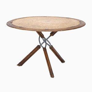 Runder Tisch aus Rattan, Leder & Metall von Ramon Castellanos für Kalma, 1980er
