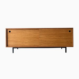 Low Sideboard with Sliding Doors and Metal Base, 1980s